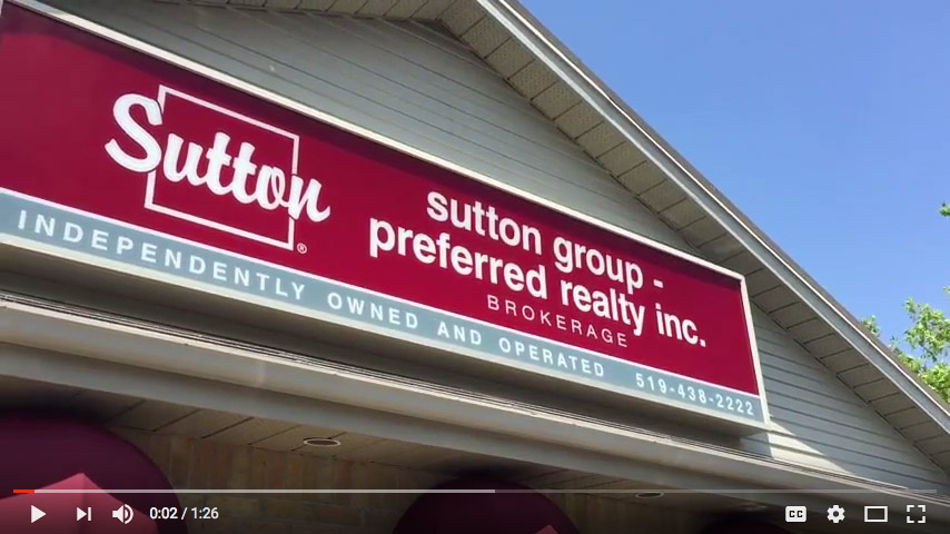 Sutton Group Preferred Realy Inc. sign in YouTube video screenshot.